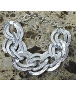 White Gold Plated Chunky Circle Oval Adjustable Chain Link Bracelet 8 10... - $14.99