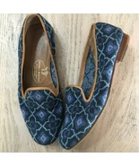 Stubbs and Wootton Blue Floral Needlepoint Loafers Size 6 Palm Beach Tap... - $130.79
