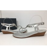 Bernardo Womens Mojo Studded Silver Leather Wedge Sandals Size 10 M - $59.38