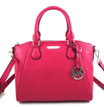 AUTHENTIC NEW NWT MICHAEL KORS LEATHER $298 CAMPBELL PINK SM SATCHEL CRO... - $3.024,83 MXN