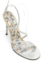 GUCCI Sandal Metallic Silver Leather HAINES Strappy Floral Sz 38 - $403.75