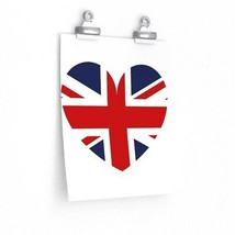 British Flag Love Union Jack Wall Art UK Premium Matte Vertical Poster - $7.50+