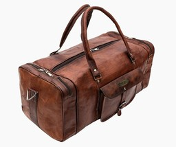 Goat Leather Large Men's Vintage Duffel Luggage Weekend Gym Bag Vintage  - $91.03