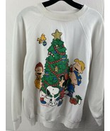 Vintage Peanuts Christmas Snoopy Charlie Brown Sweat Shirt Women's Size 2XL - $29.69