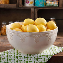 "Serving Bowl - The Pioneer Woman Farmhouse Lace 10"" Linen Serving Bowl L... - ₹1,507.19 INR"