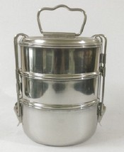 STAINLESS STEEL 3 TIER LUNCH BOXES TIFFIN CLIP STYLE OFFICE SCHOOL FOOD ... - $33.25