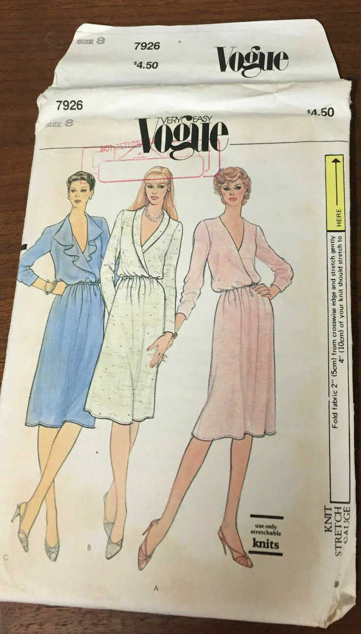 Primary image for Vogue 7926 Loose Fitting Blouson Dress W/Wrap Bodice Size 8 Vintage Sew Pattern