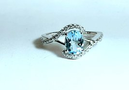 925 Sterling Silver Natural Aquamarine And Cz Gemstone Artistic Design Handmade  image 2