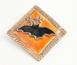 ESTATE Jewelry VINTAGE RETRO COPPER ENAMEL FIGURAL HALLOWEEN BAT BROOCH  - $10.00