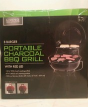 BBQ Grill Charcoal Portable 8 Burger New Living Solutions - £26.04 GBP