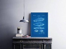 "Future Car Patent - Blueprint Style - Art Print - 18"" tall x 12"" wide - $16.00"