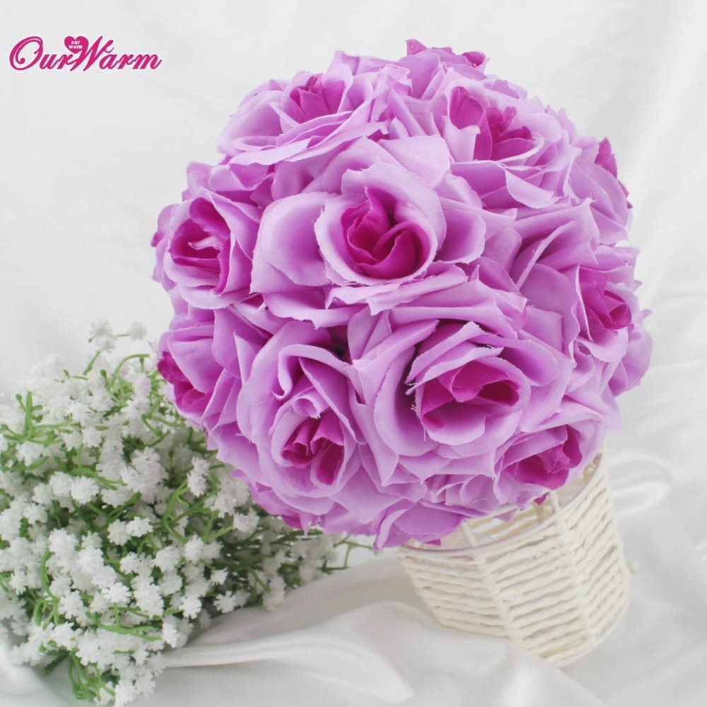 18cm Diameter Silk Rose Flower Ball Artificial Bouquet Kissing Ball for Wedding