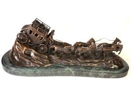 Stagecoach, Lost Wax Bronze Handmade Sculpture by C.M. Russell - $1,021.65
