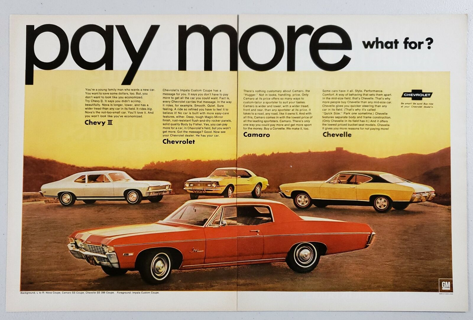 Primary image for 1968 Print Ad Chevrolet Impala, Camaro, Chevelle, Chevy II Cars