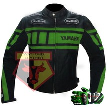 Yamaha 0120 Green Motorbike Cowhide Leather Jacket With Free Pair Of Gloves - $214.99