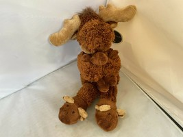 "2013 Animal Adventures Moose & Baby Moosey Slippers Plush 14"" w/ Tags SO... - $26.39"