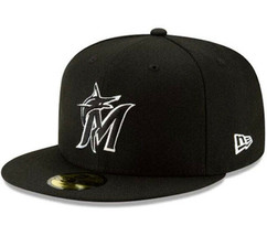 Miami Marlins Black and White Fashion 59FIFTY Fitted Hat / Size 8 / NWOT - $23.19
