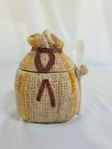 Lefton Instant Coffee Burlap Bag Jar with Spoon - $17.77