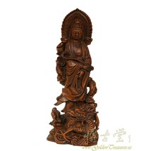 An item in the Antiques category: Chinese Antique Wooden Carved Kwan Yin Statuary 18LP110