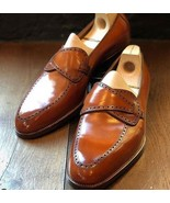 Handmade New Tan Color Loafer Leather Shoe, Men's Wedding Fashion Slippe... - $144.99+