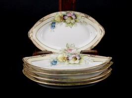 Vintage Nippon Porcelain Nut/Almond Boats, 5 Pieces, Floral Design w/Gol... - $48.95
