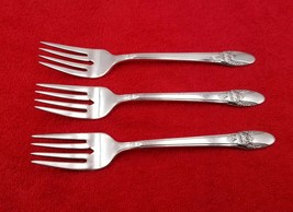 """3 Salad Forks ~ First Love by 1847 Rogers Bros International Silverplate 6 3/4"""" - $35.63"""