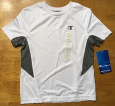 NWT Champion Kid's White and Gray Short Sleeve Dri-Fit Athletic Shirt Si... - $7.91
