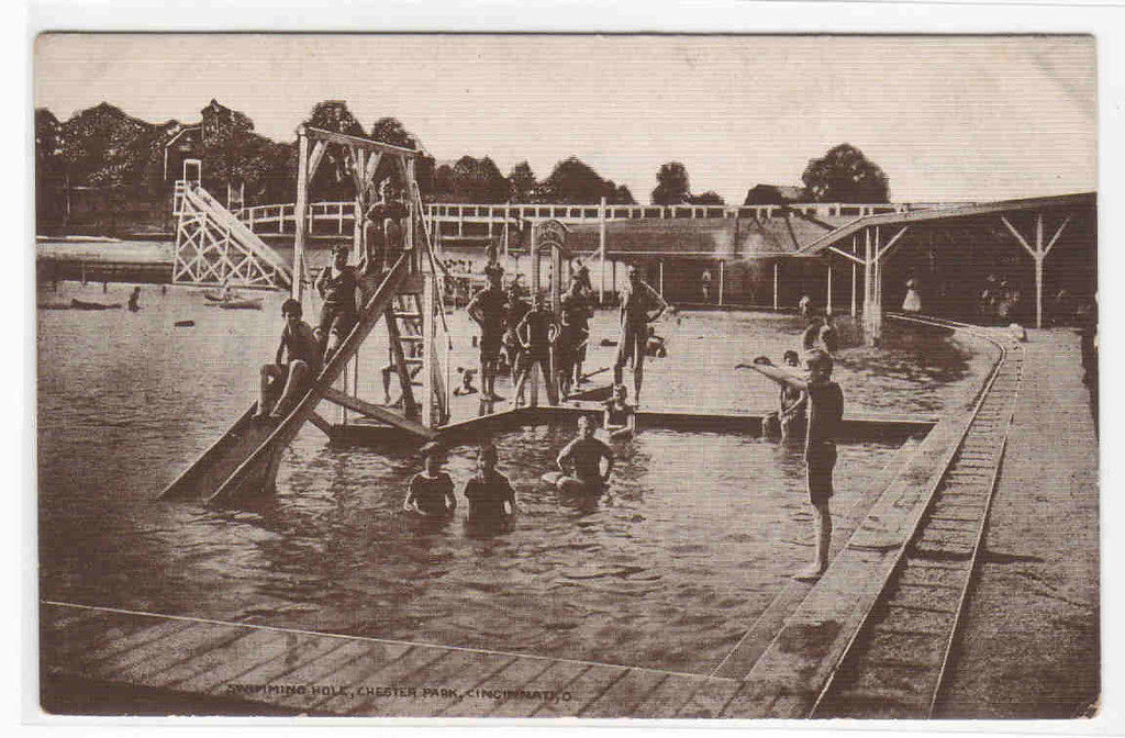 Swimming Pool Crowd Chester Park Cincinnati Ohio 1910c postcard