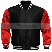 New Letterman Baseball College Varsity Bomber Jacket Sports Wear Black Red Satin - $49.98+