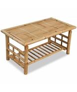 vidaXL Bamboo Coffee Table w/ Shelf End Couch Sofa Side Tea Accent Night... - $79.99