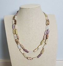 Vintage Long Beige Purple Ceramic Porcelain Bead Knotted Necklace Rustic... - $20.00