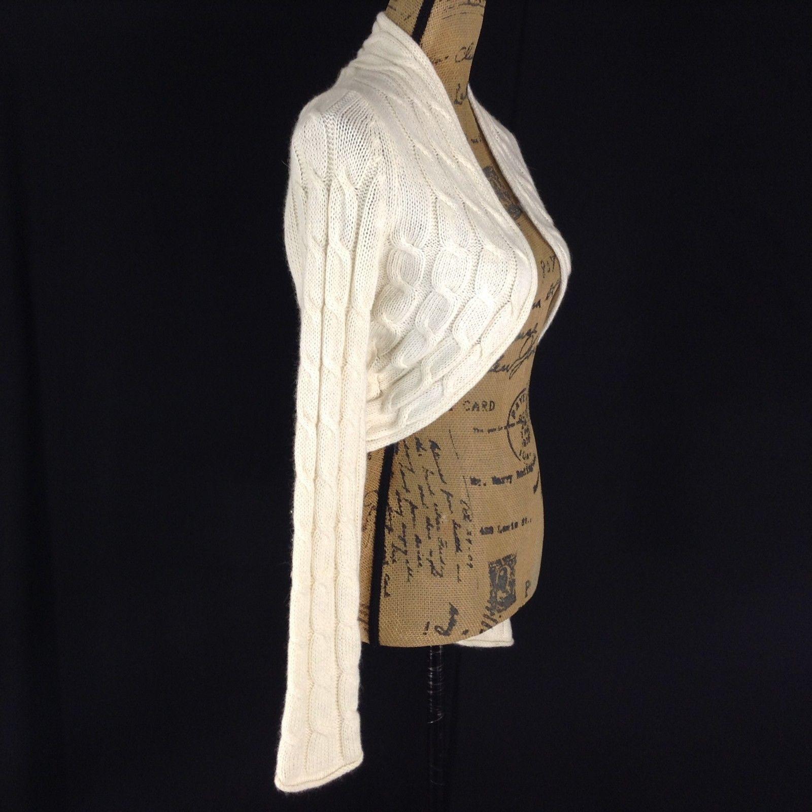White House Black Market Sm Cardigan Sweater Crop Shrug Cable Knit Long Sl CUTE