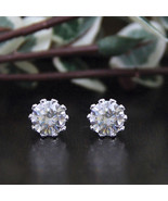 0.50 Carat Round Cut Diamond Stud Earrings 14K White Gold Finish   - $69.99