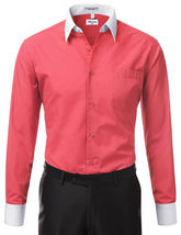 Berlioni Italy Men's Premium Classic White Collar & Cuffs Two Tone Dress Shirt image 9