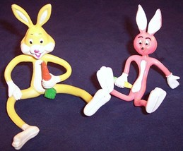 Lot of 2 Bendy Bendable Posable Bunnies Rabbits with Carrots, 1 is Russ - $9.99