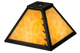 "Meyda Tiffany 8"" Square Leafs Edge Leaves Replacement Lamp Shade - $108.69"