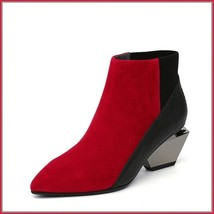 Red And Black Split Color Suede Genuine Cow Leather Cuban Heel Ankle Boots image 1
