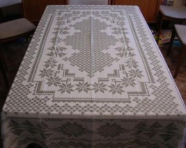 Rectangle JACQUARD WOVEN NATURAL TABLECLOTH Taupe & Beige Geometric Flor... - $38.79