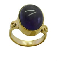 enticing Amethyst Gold Plated Purple Ring Natural gemstones US gift - $17.99