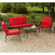 Premium Red Cushioned 4-Piece Garden Patio Conversation Set Relax Comfor... - $267.83