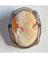 Vintage Cameo Shell Brooch silver curved Filigree 1.18in. 3.8g Italy 800... - $123.74