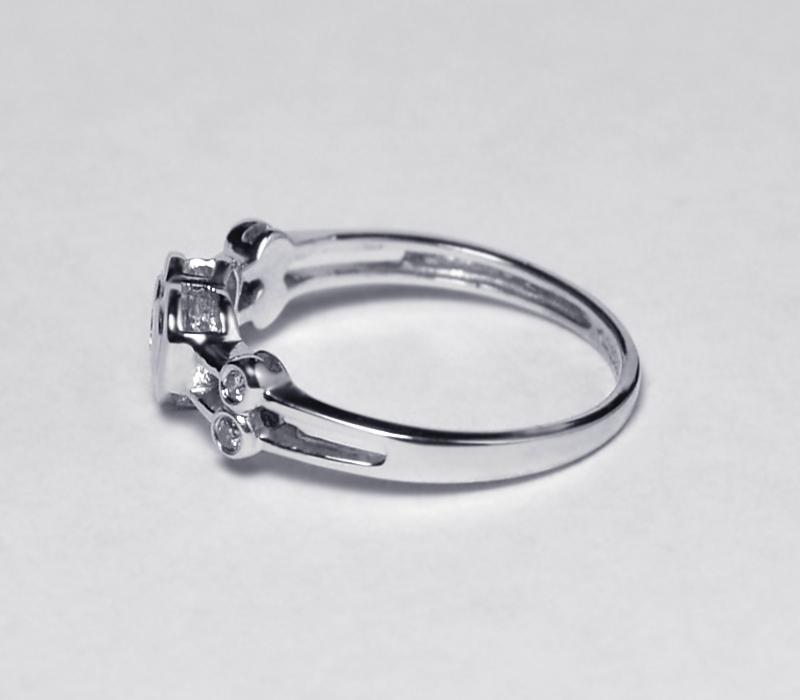 Diamond Heart Shape Promise Band Ring Womens 14K White Gold Bezel Set Custom