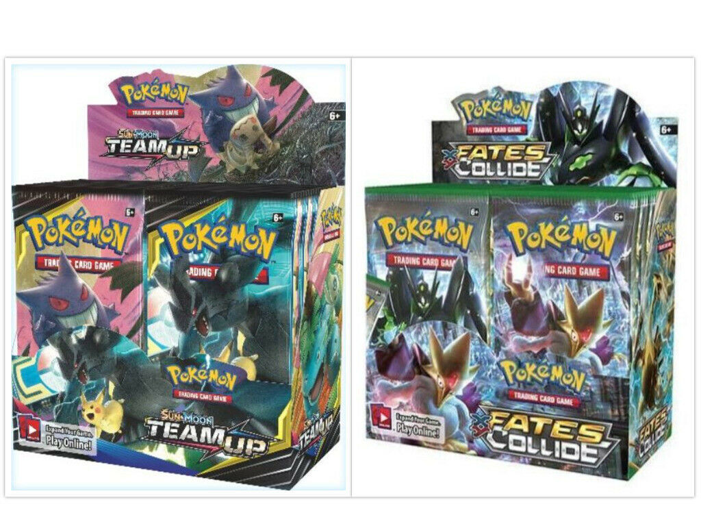 Pokemon TCG Sun & Moon Team Up + XY Fates Collide Booster Box Bundle
