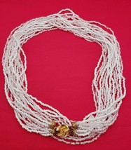 Beautiful Vintage Long White Glass Bead Necklace  (#492) - $49.00