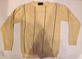 100% Cotton Sz M Men's Sweater Knit Crew Neck By Bill Blass Light Yellow Stripes - $8.99