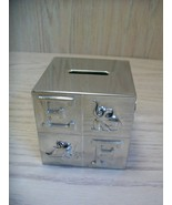 Silver Plate Baby Nursery Coin Bank Metal Stopper Letters Animals Baby D... - $9.95