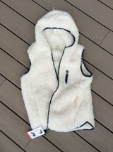 Fluffy Hoodie Weatherproof Jacket Vest Off White Cream Zip Womens M New - $29.69