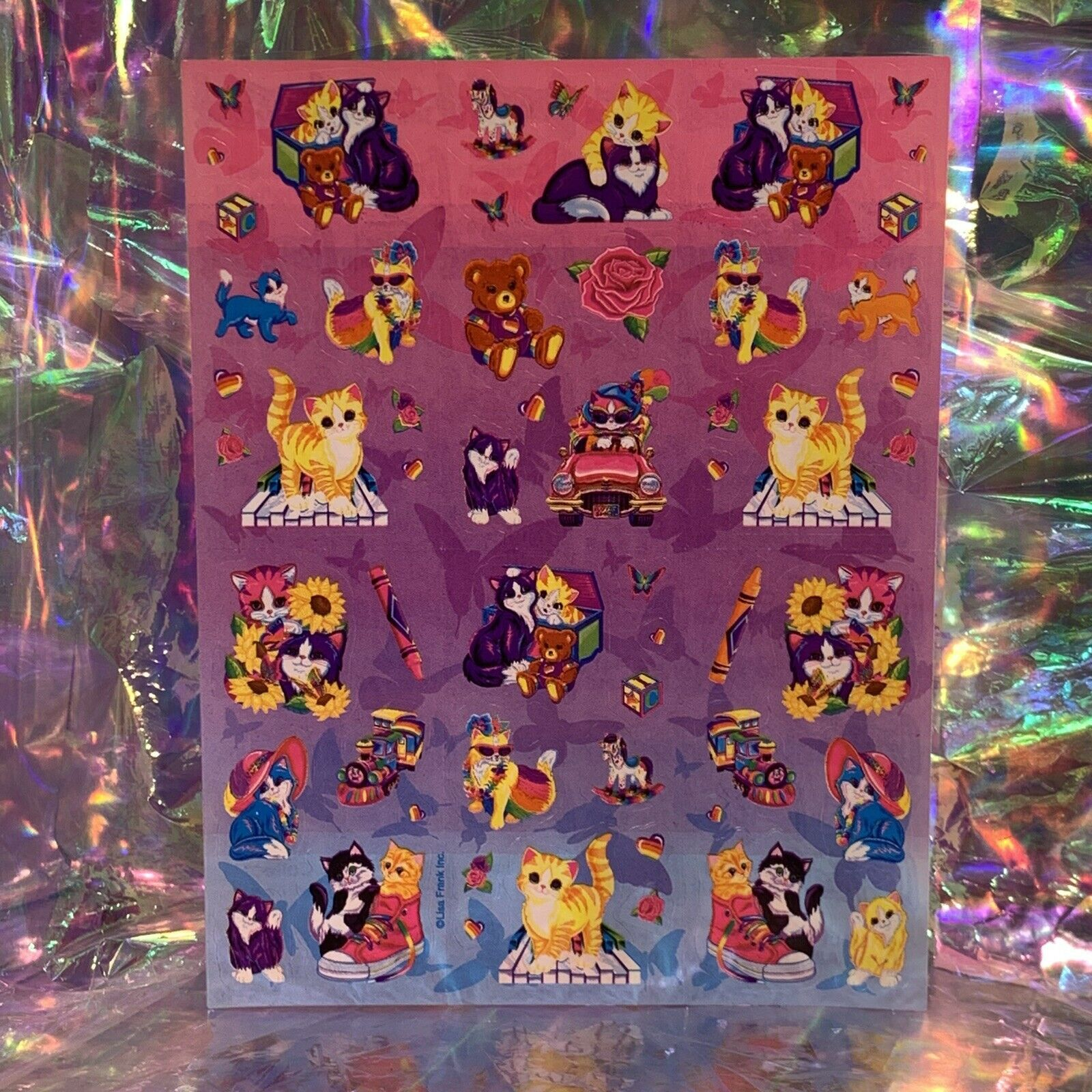 WOW Vintage Lisa Frank Sticker Sheet Love To Shop Kitty Sunflowers Teddy S390