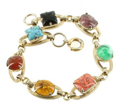 "Vintage Crackle Venetian Oval Round Square Art Glass Link Bracelet 7"" - $53.99"