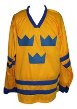 Custom Name # Sweden Tre Kronor Hockey Jersey Yellow Niklas Lidstrom Any Size image 1